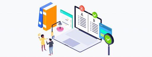 ilustración con dos personas una laptop y otras interfaces haciendo referencia a la ejecución de un proceso de ab testing para afinar un plan de growth hacking marketing,